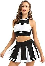 renvena Women's Two Piece Schoolgirls Musical Cheerleading Uniform Sleeveless Crop Top with Pleated Sk
