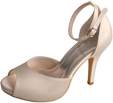Wedopus Mw740 Women S Peep Toe High Heel Platform Satin Ankle