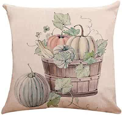 Thanksgiving Day Pgojuni Cotton Linen Halloween Pumpkin Cushion Cover Square Pillow Case Decor Pillow Cases Sofa Cushion Cover 1pc (G)