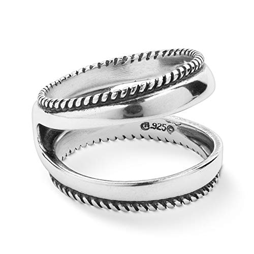 Carolyn Pollack Sterling Silver Rope Edge Guard Ring Sizes 6
