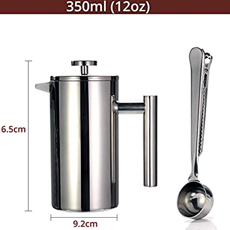 Amazon.com: Cafetera francesa de doble pared de acero ...