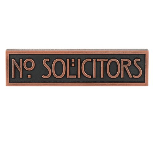 - Atlas Signs and Plaques Mini Stickley No Solicitors Plaque 8x2 - Raised Copper Metal Coated Sign