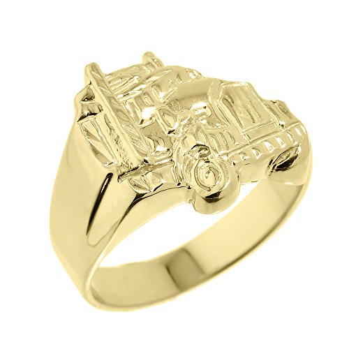 Men's 10k Yellow Gold Truck Design Ring (Size 13.5)
