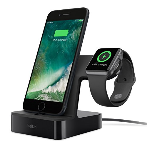 Amperes Panel - Belkin 2-in-1 PowerHouse Charging Station/Dock/Stand for iPhone X/8 Plus/8/7/6/5 & Apple Watch Series 1/2/3 - Black