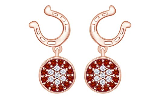 Wishrocks Round Simulated white Sapphire with garnet Horseshoe Drop Earring In 14k Rose Gold Over Sterling Silver.