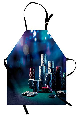 Lunarable Poker Tournament Apron, Gaming Table with Poker Chips Dramatic Display Vegas Leisure Art Print, Unisex Kitchen Bib Apron with Adjustable Neck for Cooking Baking Gardening, Multicolor