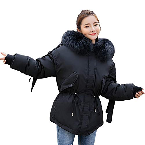 NEWONESUN Winter Hoodie Trench Coat for Women Cotton Parka Hooded Quilted Jacket Outwear Black