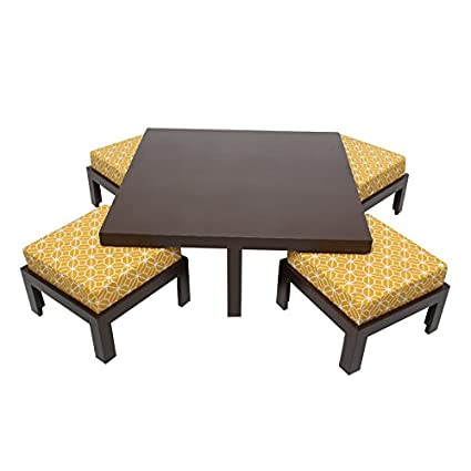 ARRA Trendy Coffee Table With Four Stools   Ochre