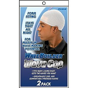 Boo Cap (WaveBuilder Wave Cap | Promotes Healthy and Uniform Hair Waves, White, 2 Count)