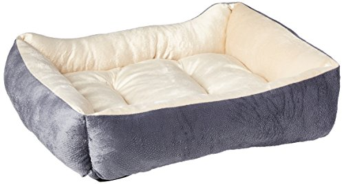 HappyCare Textiles Long Rich HCT REC-002 Luxury Embossed Rectangle Micro Mink Dog and Pet Bed, Burn Out Grey