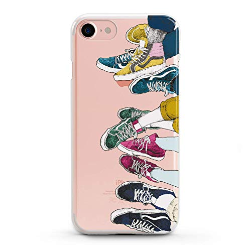 (Lex Altern TPU Case for iPhone Apple Xs Max Xr 10 X 8+ 7 6s 6 SE 5s 5 Cover Slim fit Pattern Kids Women Trainers Flexible Print Lightweight Vans Girls Design Sneakers Gift Smooth Soft Clear Colorful)