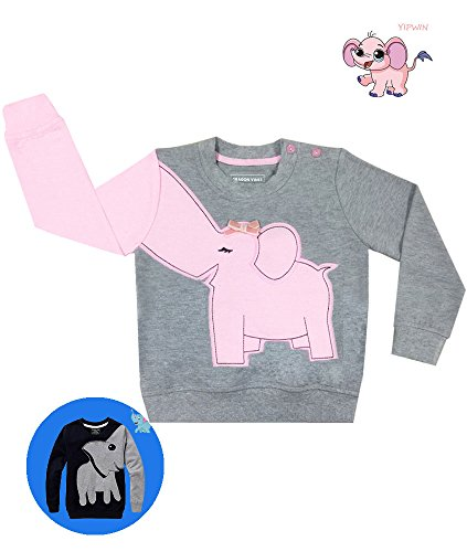 Elephant Toddler Little Girls Top Cotton Long Sleeve T Shirts Kids Head Pajamas For Girls 2T
