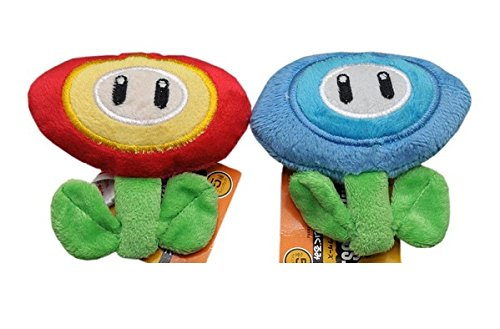 Ice Flower - Super Mario Bros Plush 3.6 Inch / 9cm Ice Flower Fire Flower keychain 2pcs Doll Stuffed Animals Figure Soft Anime Collection Toy