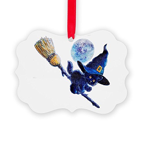 Picture Ornament Halloween Kitten Witch Broom Moon -