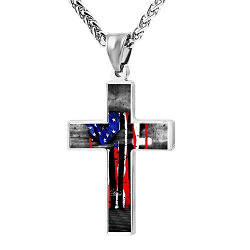LUQeo USA Baseball Cross Necklace Christianism Pendant Cool Jesus Jewelry - Logo Baseball Pendant