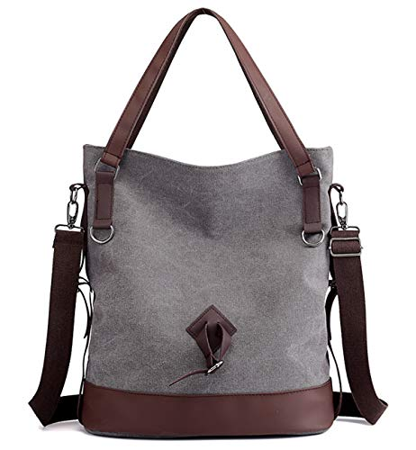 (Tom Clovers Canvas Crossbody Messenger Tote Weekender Fashion Bag (Gray A))