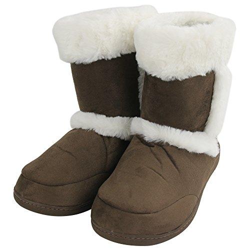 Scarpette Da Casa Per Donna Inverno Caldo Memory Foam Pantofole Casa Interna Stivali Marrone / Polsino Bianco