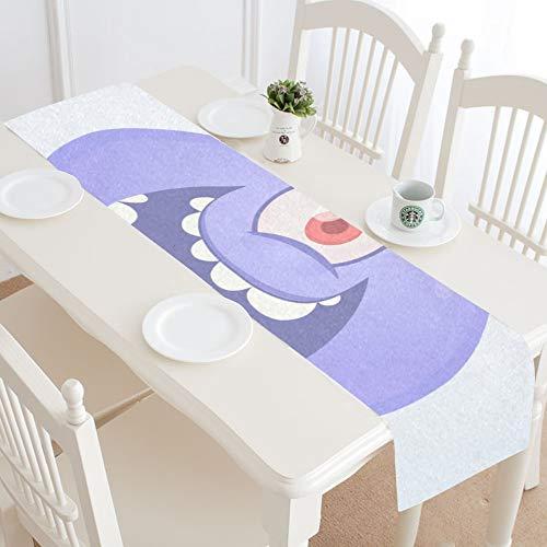 WIEDLKL Funny Happy Cartoon Alien Alien Table Runner Kitchen Dining Table Runner 16x72 Inch for Dinner Parties Events Decor -