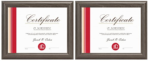 Frametory, Two 8.5x11 Frame Set, Gray-Wood Color, Curved Bevel Design - Made to Display 8.5x11 Certificate or Picture - Real Glass (8.5x11, Set of 2, ()