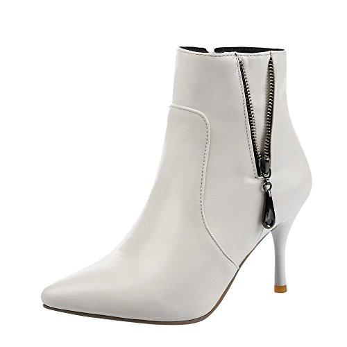 VogueZone009 Damen Stiletto Rein Rund Zehe Reißverschluss Stiefel, Weiß, 41