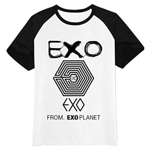Fanstown EXO kpop logo black shoulder shirt EXO M EXO K Beakhyun Luhan