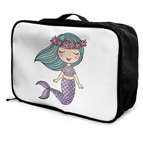 Cute Mermaid Lightweight Large Capacity Portable Luggage Bag Fashion Travel Duffel Bag