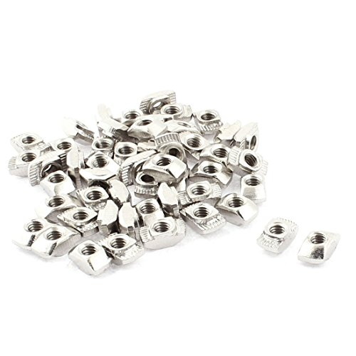 Uxcell a16012500ux0419 M4 Female Thread T Slot Hammer Head Drop in Nut Silver Tone Metal (Pack of 50)