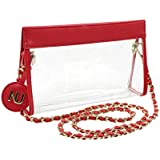 Nu Women Handbags Zoe Red Clear Crossbody Bag, Stadium Event Approved