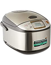 Zojirushi Rice Cooker, 1.8L, (NS-TSQ18) Stainless Steel Brown