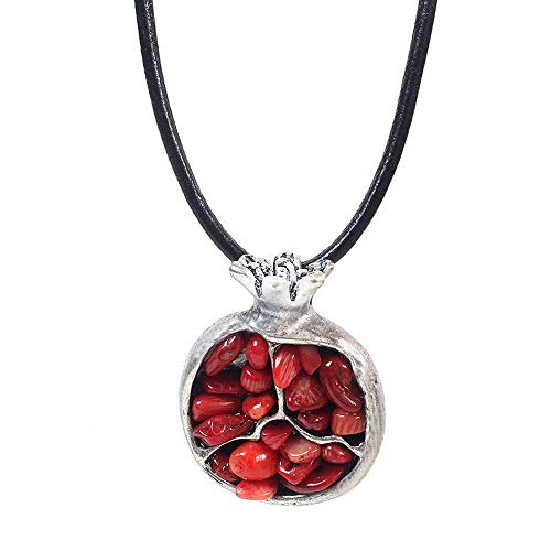 Womens Pomegranate - Banny Pink Ethnic Alloy Oriental Charms Pomegranate Stone Pendant Necklace Black Leather Long Necklace (Red)