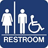 Lynch Signs 8 in. x 8 in. Sign Blue Plastic with Braille Restroom - Accessible