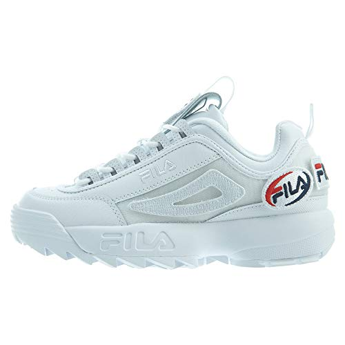 - Fila Men's Disruptor II Custom Patch Sneakers, White, 10 M US
