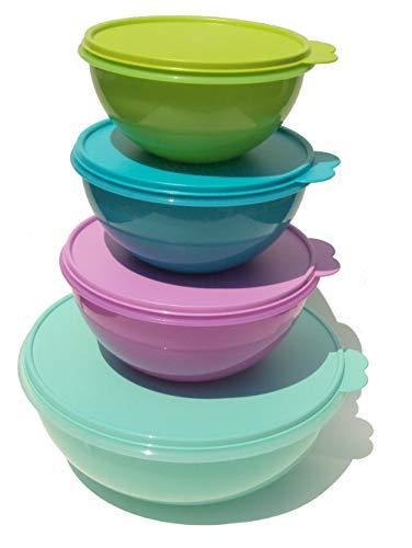 Tupperware Wonderlier Nesting Bowls Set Fix N Mix Bowl Pink Purple Green Blue