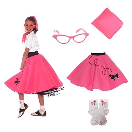Hip Hop 50s Shop 4 Piece Child Poodle Skirt Costume Set, Size Medium Hot (50s Pink Poodle Girls Costumes)