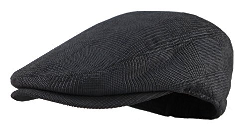 Men's Herringbone Wool Tweed Newsboy Ivy Cabbie Driving Hat (Charcoal) (2)