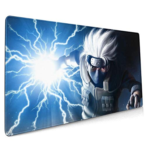 AntonioWilliams Naruto Hatake Kakashi Office,Study,Desk Mat,Shopping,Gaming Mouse Pad,Stitched Edges,Oversized Non-Slip Rubber,Extended Game Racing Mouse Pad (15.8x35.5 Inches) (Desk Mat Naruto)