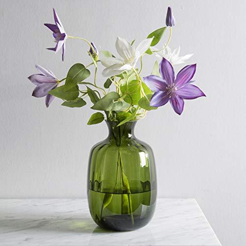 CASAMOTION Vases Hand Blown Art Glass Vase, Ripple Design Centerpiece Vases for Table, Olive Green