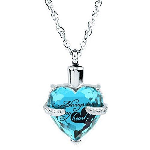 Glass Cremation Jewelry Always in My Heart Birthstone Pendant Urn Necklace Ashes Holder Keepsake by IMEIM (Dce(Zircon)) (Ash Holder Pendant)