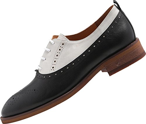 U-lite Womens Perforated Lace-up Round-Toe Brouge Shoes, Multicolor Spring Vintage Oxfords White Black9 by U-lite (Image #4)