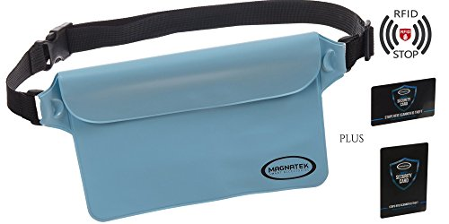 Waterproof Pouch Dry Bag Fanny Pack with Waist Strap (Blue) - Keep Your Smart Phone and Valuables Safe and Dry when Boating Swimming, Camping | BONUS an RFID Credit Card AND Passport Identity Blocker