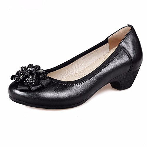 SDKIR-Leather Shoes wild flowers light port single shoes in Mama shoes comfortable in older women shoes with psoriasis slope 38 black by SDKIR (Image #1)