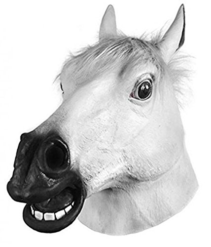 Miyaya Horror Scary White Horse Head Mask for Halloween,Masquerade,Carnival,Christmas,Easter or any other -
