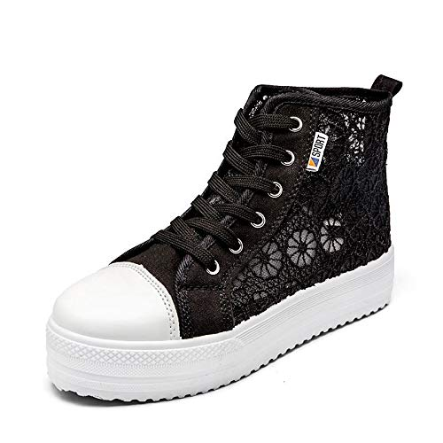 ZHZNVX Zapatos de Mujer Canvas Comfort Comfort Sneakers Creepers Round Toe Blanco/Negro / Rosa Black