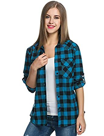 Zeagoo Womens Roll Up Sleeve Casual Boyfriend Tartan Plaid