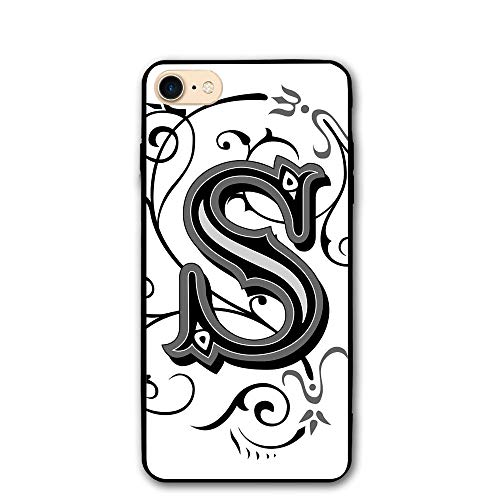 Haixia IPhone 7/8 Cover Case 4.7 Inch Letter S Monochrome Letter From Alphabet S Abstract Design Swirls Other Shapes Decorative Black Grey White ()