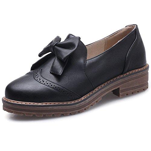 On School Dress Brogues Heel DecoStain Work Bow Flats Low Comfort Slip Women's Tie Shoes Loafers qvvOt7wz