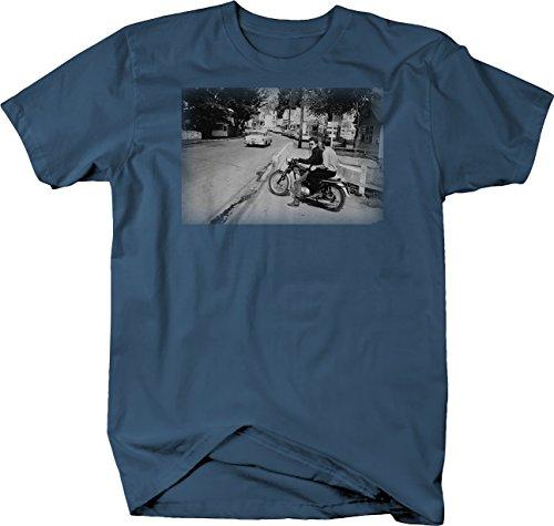 Retro - Bob Dylan Motorcycle Vintage Classic Rock Roll Artist Tshirt - XLarge Denim Blue