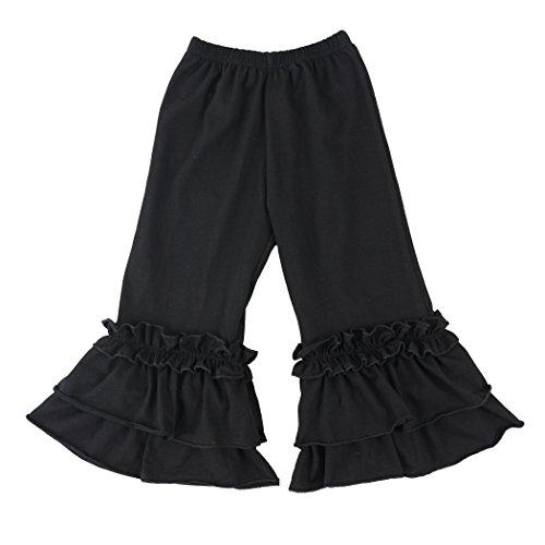 Wennikids Infant/Toddler Girls Stretchy Flare Pants w/Ruffles 1-6T Large Black
