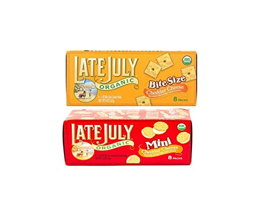 Late July Organic - Mini Organic Bite Size Sandwich Crackers Cheddar Cheese and Peanut Butter - 16 Packs