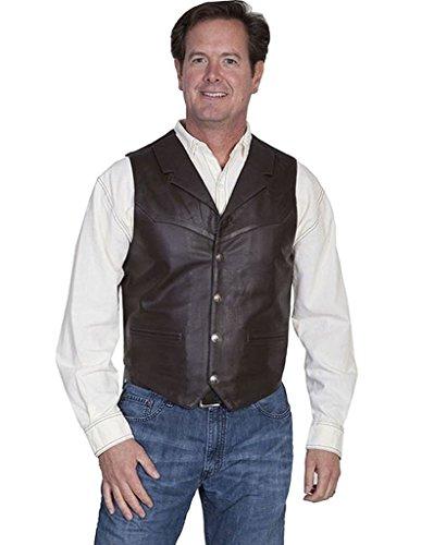 Scully Men's Lambskin Lapel Vest Brown Medium